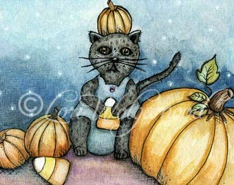 ACEO - Candy Corn Kitty with Pumpkins - Halloween Watercolor - Art Print