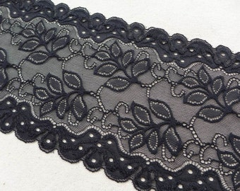 "SALE Black Stretch Lace 5.8"" wide Elastic Lace with Leaves for Headbands, Lingerie, Women Gloves, Altered Couture"