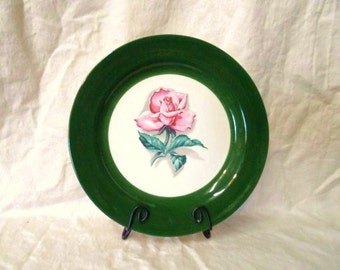 HOMER LAUGHLIN Nautilus China Plate- Empire Green Pink Rose- Old Rare Display Plate or Replacement- C62N5- Stunning Colors- Shabby Decor