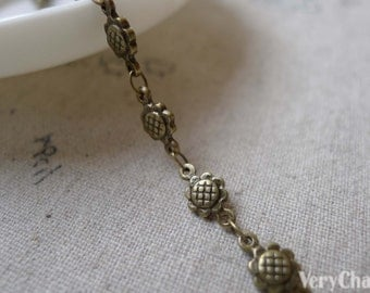 3.3 ft (1m) of Antique Bronze Brass Round Sunflower Link Chain A7070