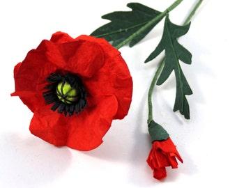 Poppy - Handmade Single Stem Paper Flower