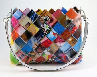 Recycled Fashion Magazines Handbag - Eco Friendly Hand Woven Paper Purse