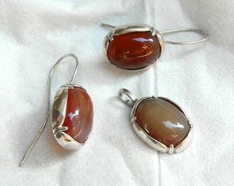 Vintage style sterling silver matching jewelry set earrings pendant nature jewelry elegant jewelry agate earrings agate pendant