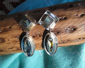 Green Abalone and Sterling Earrings