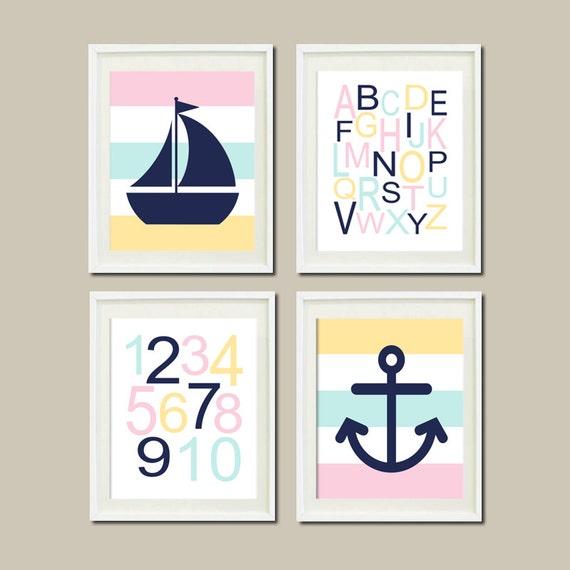 Anchor Wall Decor Nursery : Nautical nursery decor art baby girl pink by lovelyfacedesigns