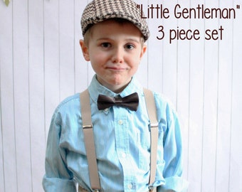 Ring bearer outfit, family photos outfit, toddler braces, boys wedding outfit, sibling outfit, twin outfit, kids bow tie, kids newsboy hat