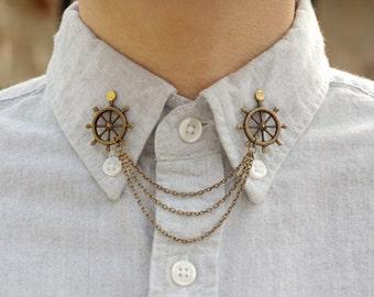 Bronze Wheel Collar Clip Collar Chain