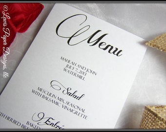 Wedding Reception Menu Cards - Menu cards