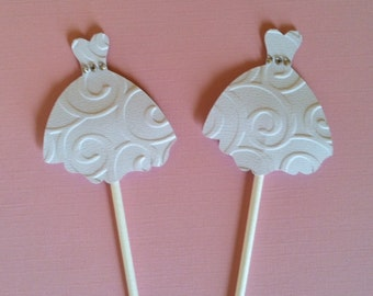 WEDDING DRESS CUPCAKE Toppers - Wedding Cupcake Toppers Set of 12