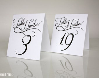 Printable Wedding Table Numbers - Tent Fold - Table Numbers - 11-20 - PDF & Printable Wedding Table Numbers 11-20 Table Tents Vintage