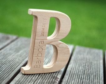 Personal gift - ash wood letter B with engraved child name and date of birth