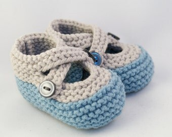 Hip Gray & Blue Knit Baby Booties