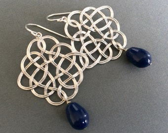 Silver Swirl Earrings, Navy Blue Dark Lapis Dangle,