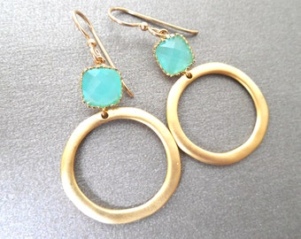 SALE!! 30% Off Aqua Chalcedony Glass Earrings, Aqua Mint Crystal Circle Hoop Earrings, Modern Gold Mint Drops