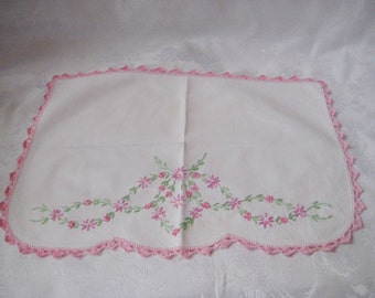 Pink embroidered white cotton doily, fabric doily, cloth doily, shabby cottage doily, floral doily, mid century, 987