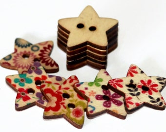 10 Large Star Shaped Buttons - 25mm - Painted Wooden Buttons - Flower Pattern Wood Button - 2 holes - PW71