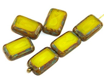 Milky Yellow Picasso 12x8mm Table Cut Rectangle Czech Glass Beads x 12