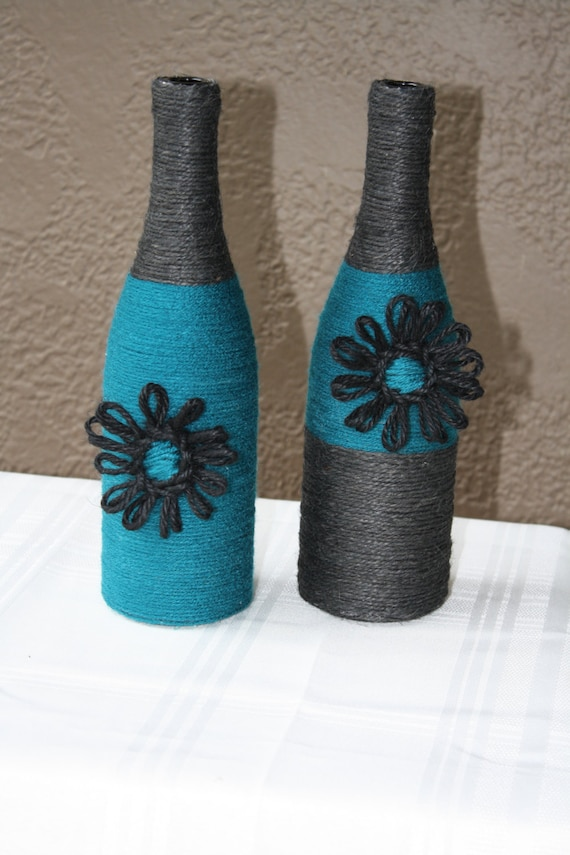 Set of 2 custom wrapped wine bottles twine gorgeous decor and for Wine bottle decorations handmade