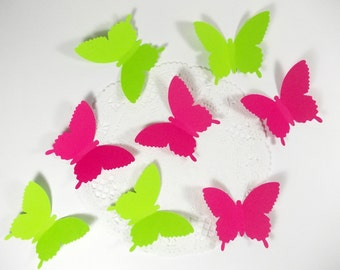 Lime Green & Hot Pink  Butterfly Die Cuts, Confetti, Cupcake Toppers, Embellishments, Party Decoration, Table Decor 50