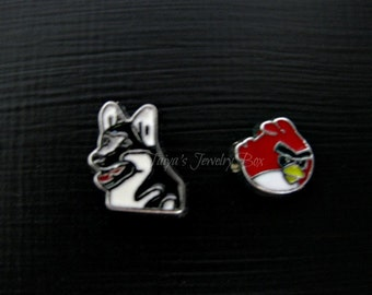 Dog, Angry Bird Floating Charms -Memory Locket Charms - Animal Floating Charms