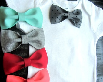 Baby Boy Clothes - Bow Tie  - Take Home Outfit - Baby Shower Gift - First Birthday Boy Outfit - Coral Grey Red Polka Dot - First Easter