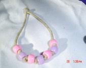 pink pony beads lavender hemp  child or teen gift OOAK Handmade Jewelry