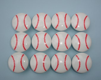 Set of 12 Hand Painted Baseball Dresser Drawer Knobs