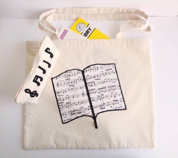 Tote Bag Shapes Tote Bag With Music Notes Book
