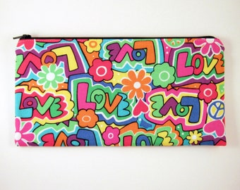Love Zipper Pouch, Pencil Pouch, Make Up Bag, Gadget Bag, Colorful