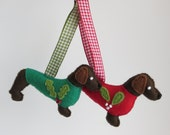 Dark brown hand sewn Dachshund or Teckel felt dog christmas ornament