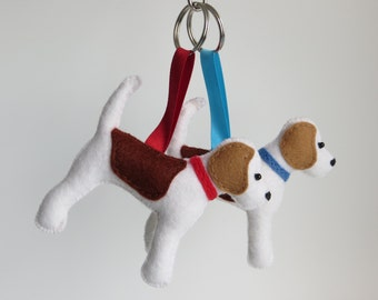 Beagle dog hand sewn felt keyring