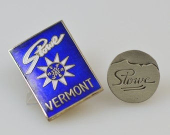Vintage Stowe Vermont Pins Ski Stowe Mountains Collectible Souvenirs Lot of 2