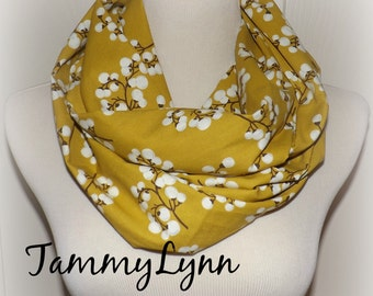 Mustard with Burnt Umber Cotton Blossoms Infinity Scarf Cotton Infinity Women's  Accessories