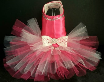 Fuchsia Frolic Dog Harness Dress. XSmall Dog Dress to XXLarge Dog Dresses, Tutu Dog Dress. Wedding Dog Dress, Clothes, Designer Dog Dress