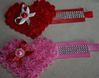 Newborn Headband, Valentines Headband, Baby Headband, Valentines Day, Heart Headband, Red, Toddler Headband, Chiffon Rosette Heart