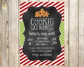 Chalkboard Red and Green Christmas Cookie Exchange Invitation