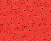 Valentine Fabric - Heart from Table for Two by Sandy Gervais for Moda Fabrics 17756 12 Lipstick - 1/2 Yard