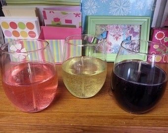Wine glass gel candles that look and smell amazing