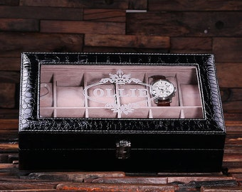 Watch Box  for Men Black Chrocodile Personalized Christmas, Anniversary, Father's Day, Birthday, Graduation Gift