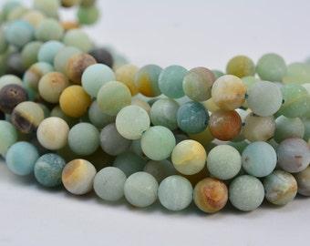amazonite - matte round amazonite beads - multi color gemstones - multi colored beads - loose gemstone - round bead - size 8mm - 15 inch