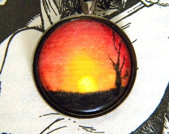 Sunset Necklace- Hand Painted Pendant- Wearable Art