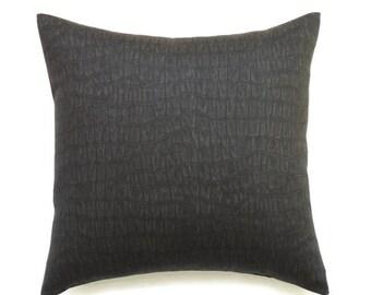 Black Pillows, 20x20 Pillow Cover, Decorative Pillow, Throw Pillow, Decorative Pillow, Modern Pillow Covers, Zendi Charcoal