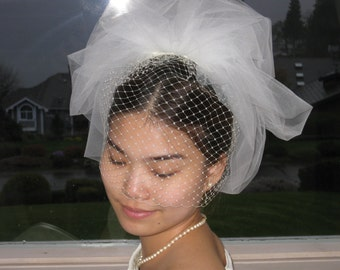 "Bubble veil 2layers. Wedding veil 15"" length with Russian net."