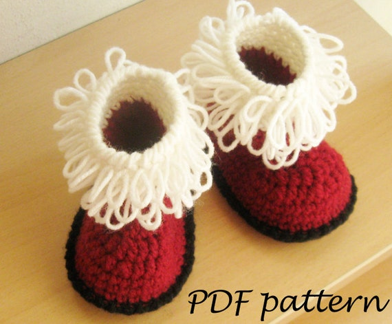 Crochet PATTERN Santas Baby Booties Crochet by AimarroPatterns