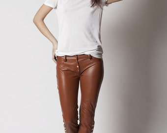 Tan leather pants | Etsy