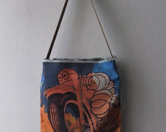 Morocycle tire man pop art canvas denim tote bag