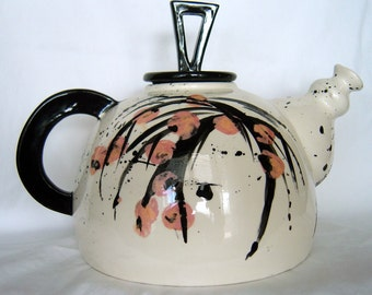 Asian teapot/ original decoration/ceramic/8x9 inches