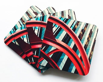 Skyrocket Photography Coasters, Frank Gehry Coasters, Wood Cork Set of Four Coasters, Square Coasters, Architecture Coasters