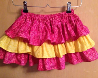 SALE!!!   Little girl pink and yellow ruffle skirt  Size 2T to 3T -- Ready to ship