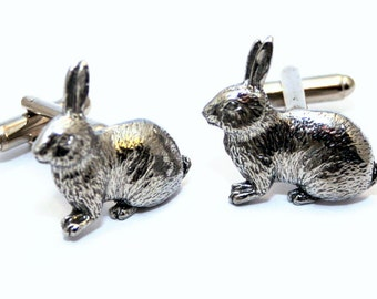 Rabbit Cufflinks in Fine English Pewter, Handmade, Gift Boxed (ae)
